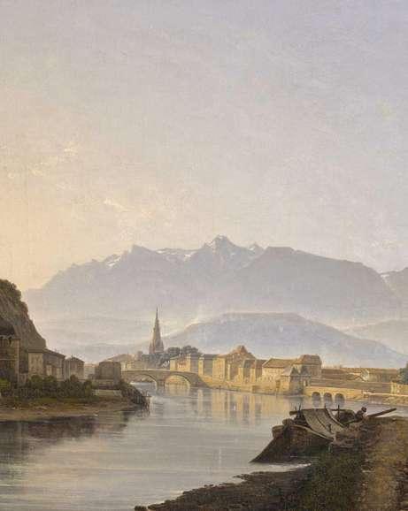Jean-Alexis ACHARD, Vue de Grenoble, vue prise du quai de la Graille, (détail), 1837